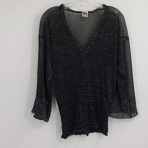MISSONI Black silver metallic blouse
